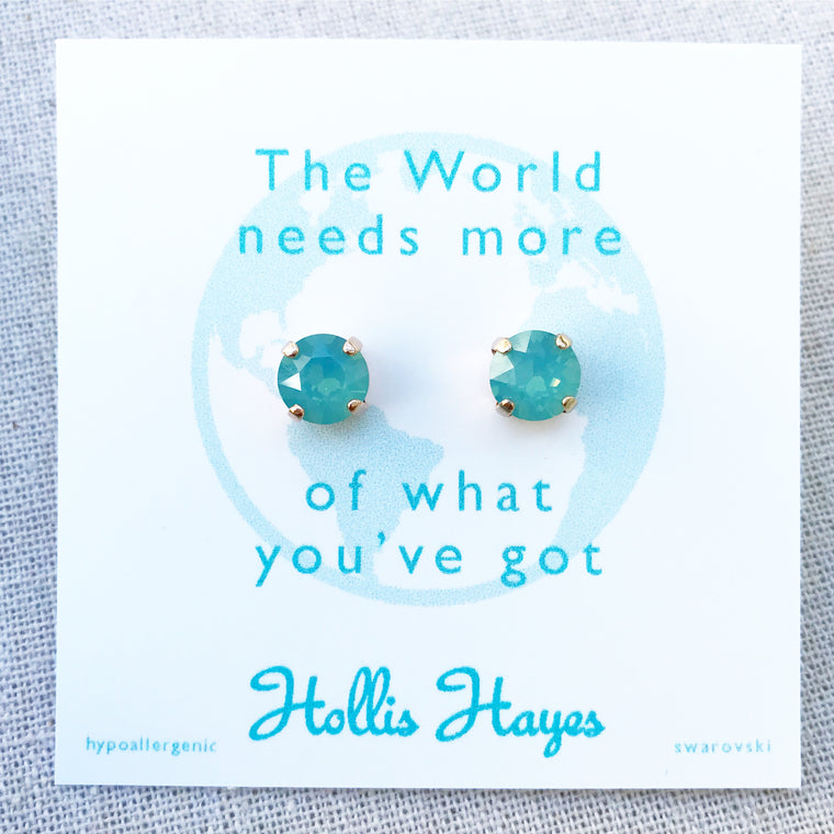 Sea foam green Swarovski studs - The World needs more of what you've got