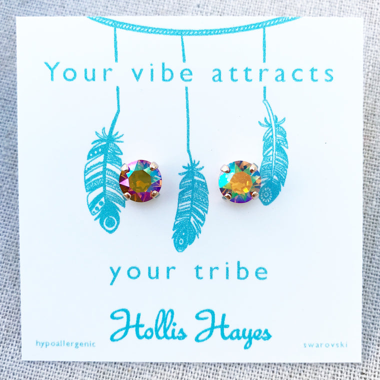 Topaz Swarovski studs - Your vibe attracts your tribe