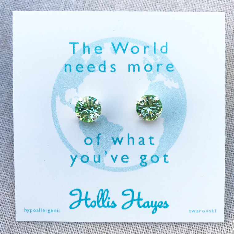 Peridot Swarovski Studs - The World needs more of what you've got