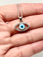 Load image into Gallery viewer, 925 Sterling Silver Bezel White Mother of Pearl Evil Eye Necklace