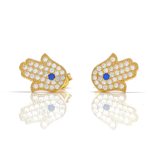 18K Gold Plated Hamsa / Hand of Fatima Earrings with Blue Accent