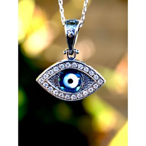 Sterling Silver Evil Eye , Lucky Eye Necklace-93