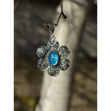 Load image into Gallery viewer, 925 Sterling Silver Hand Made Filigree Evil Eye Necklace-75