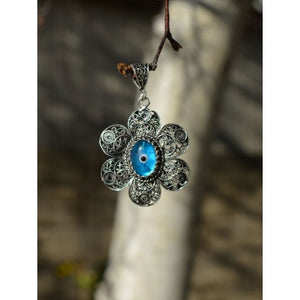 925 Sterling Silver Hand Made Filigree Evil Eye Necklace-75