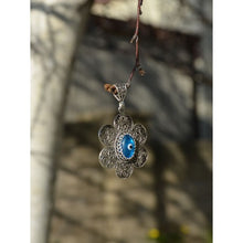 Load image into Gallery viewer, 925 Sterling Silver Hand Made Filigree Evil Eye Necklace-0