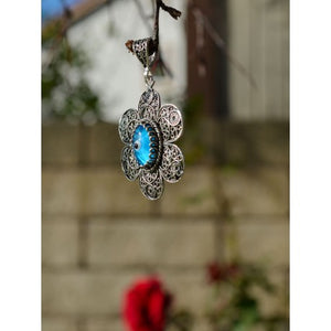 925 Sterling Silver Hand Made Filigree Evil Eye Necklace-76