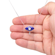 Load image into Gallery viewer, 925 Sterling Silver Blue Enamel Evil Eye with Tear Necklace
