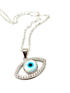 925 Sterling Silver Bezel White Mother of Pearl Evil Eye Necklace