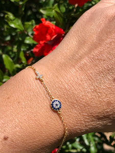 18K Gold Plated Micro Pave Round Evil Eye & Cross Bracelet