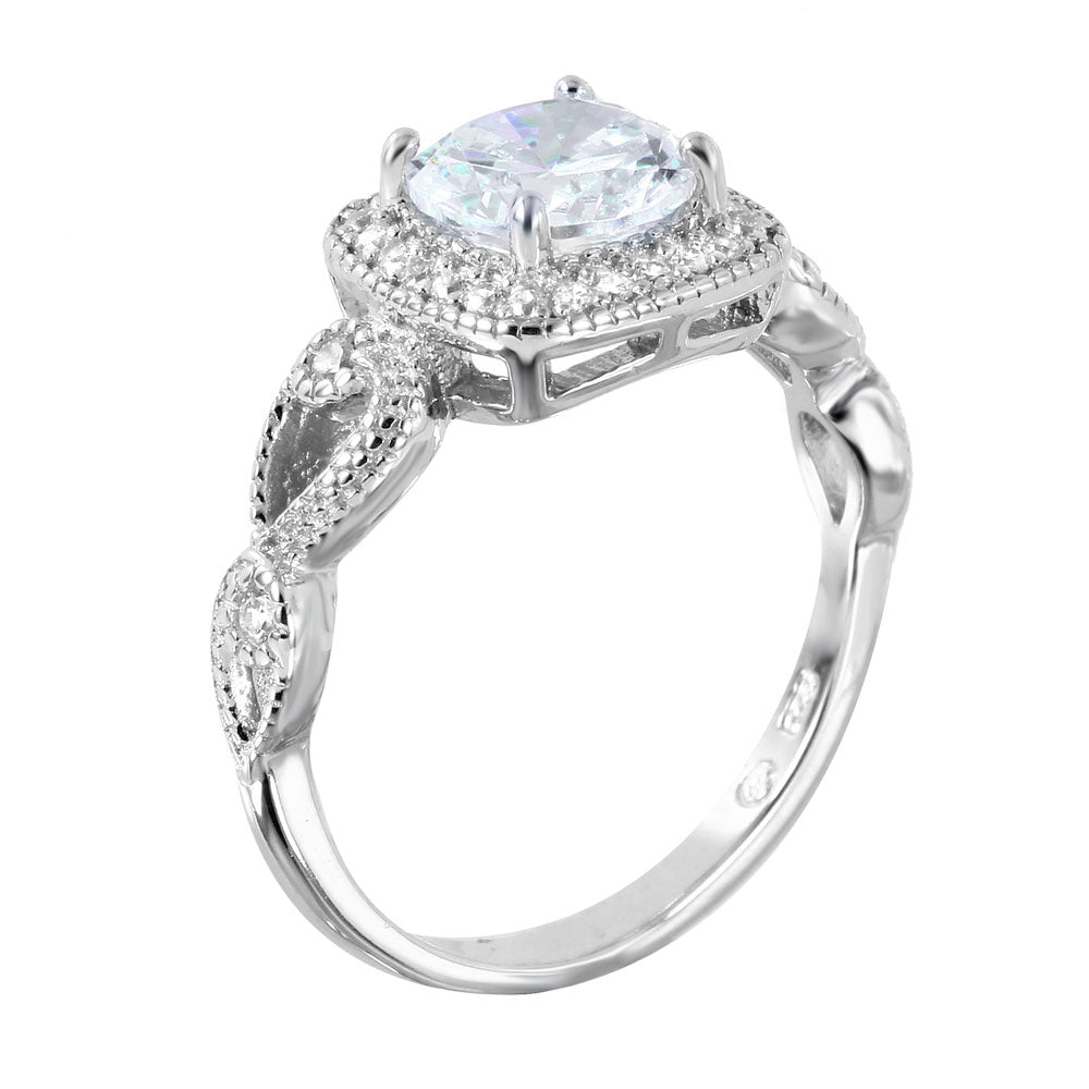 925 Sterling Silver Square Shaped with 7mm Center CZ Engagment Ring