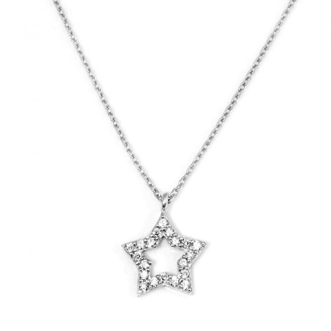 Sterling Sliver star necklace with cz-0