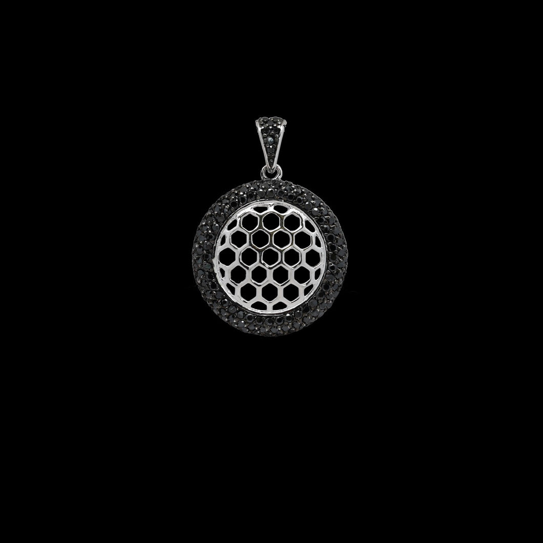925 Sterling Silver Dangling Beehive Disc Pendant with Micro Pave Black Diamond Stimulants