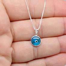Load image into Gallery viewer, 925 Sterling Silver Round Bezel Set Traditional (Light or Dark Blue) Evil Eye Necklace