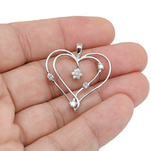 Load image into Gallery viewer, Sterling Silver Double Heart Pendant with Diamond Stimulants