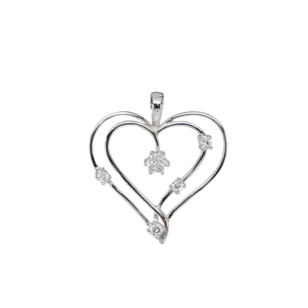 Sterling Silver Double Heart Pendant with Diamond Stimulants