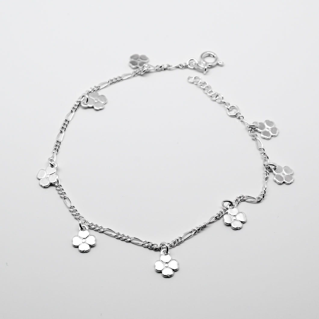 925 Sterling Silver Dangling Flower Anklet