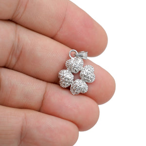 925 Sterling Silver 4 Heart into 4 Leaf Clover Micro Pave Pendant