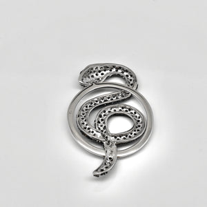 925 Sterling Silver XL Black Micro Pave Snake Pendant/Medallion