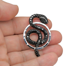 Load image into Gallery viewer, 925 Sterling Silver XL Black Micro Pave Snake Pendant/Medallion