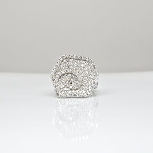 925 Sterling Silver XL Micro Pave Flower Cocktail Ring with Diamond Stimulants