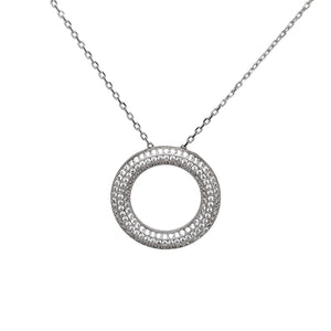"925 Sterling Silver Micro Pave ""O"" Round Ring Necklace"