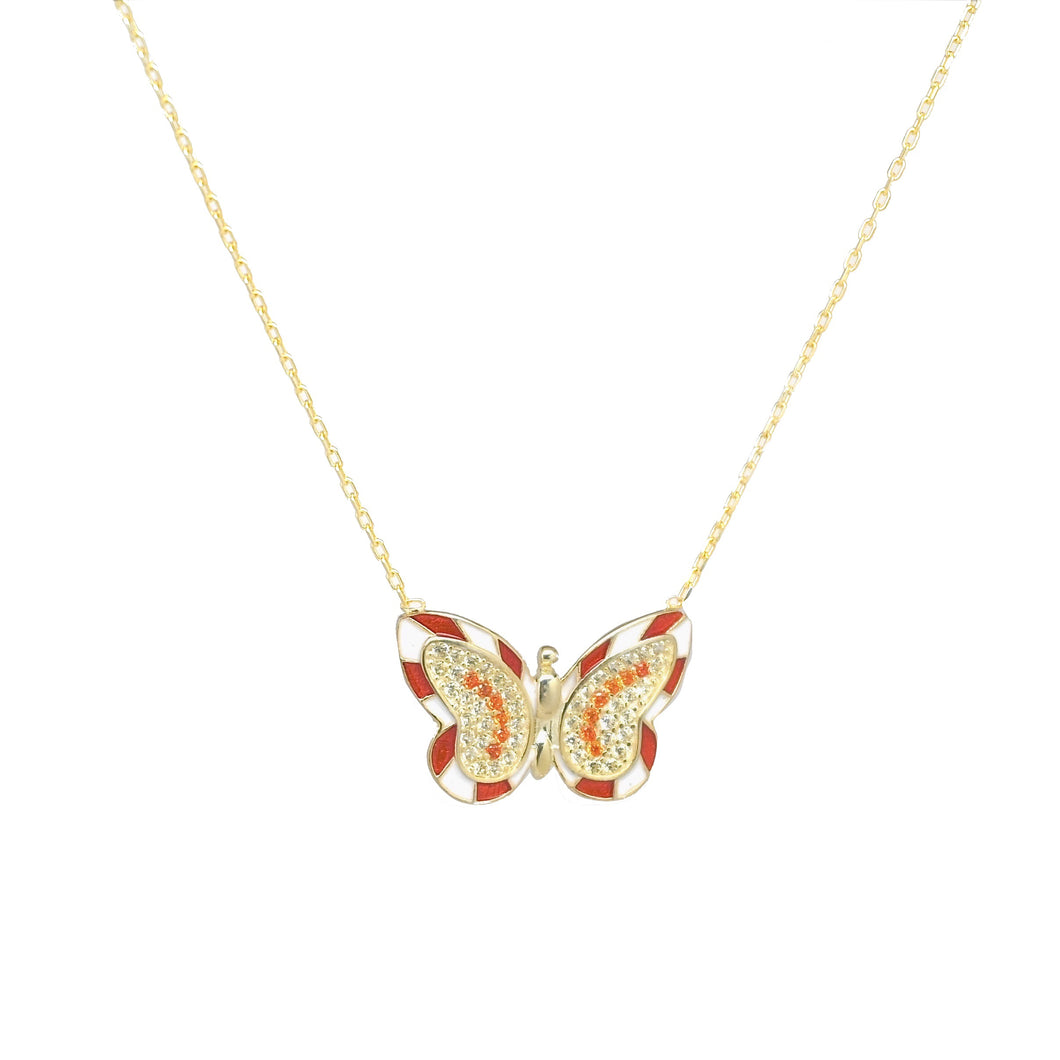 18K Gold Plated Red Enamel Butterfly Necklace