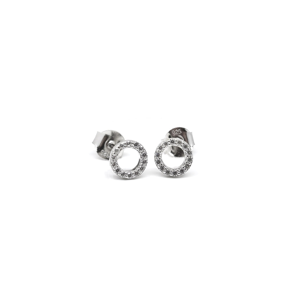 925 Sterling Silver Small Round Cut Out CZ Earrings