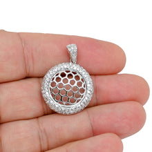Load image into Gallery viewer, 925 Sterling Silver Dangling Beehive Disk Pendant with Micro Pave Diamond Stimulants