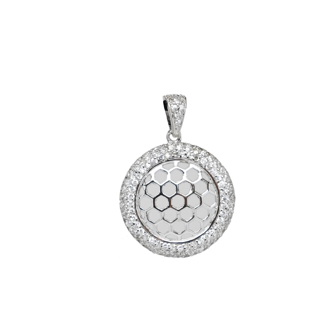 925 Sterling Silver Dangling Beehive Disk Pendant with Micro Pave Diamond Stimulants