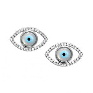 925 Sterling Silver Almond Shaped Studs with Mother of Pearl Evil Eye