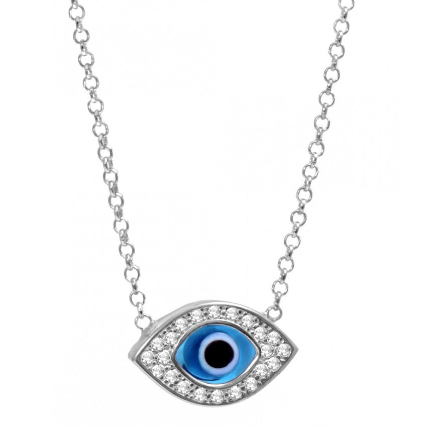 925 Sterling Silver Almond Shaped with Murano Glass Evil Eye Necklace