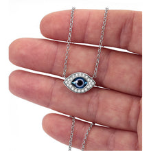 Load image into Gallery viewer, 925 Sterling Silver Almond Shaped with Murano Glass Evil Eye Necklace