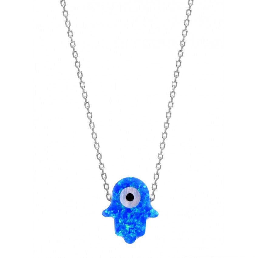 925 Sterling Silver Blue Opal Hamsa with Evil Eye Necklace