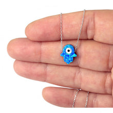 Load image into Gallery viewer, 925 Sterling Silver Blue Opal Hamsa with Evil Eye Necklace