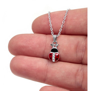 925 Sterling Silver Red Enamel Lady Bug Necklace