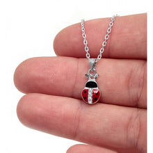 Load image into Gallery viewer, 925 Sterling Silver Red Enamel LadyBug Necklace