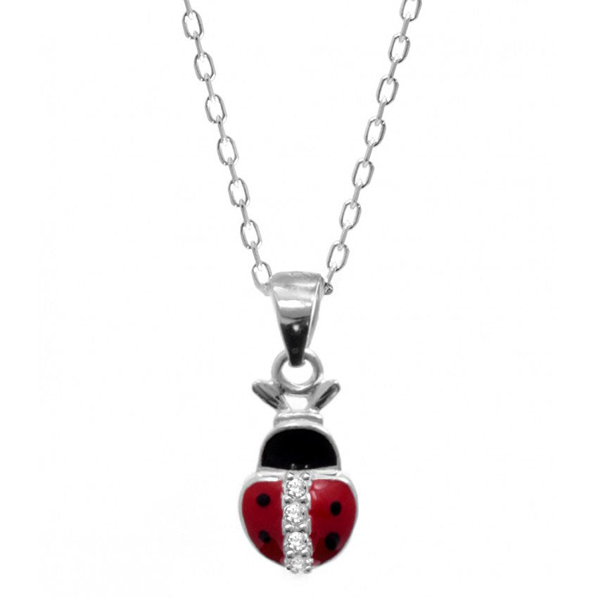 925 Sterling Silver Red Enamel LadyBug Necklace