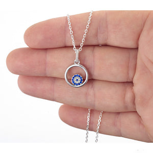 925 Sterling Silver Round Evil Eye in a Round frame