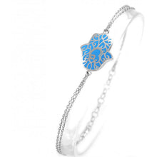 Load image into Gallery viewer, 925 Sterling Silver Double Stranded Blue Lace Hamsa Bracelet