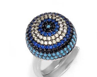 925 Sterling Silver Evil Eye Dome Cocktail Ring