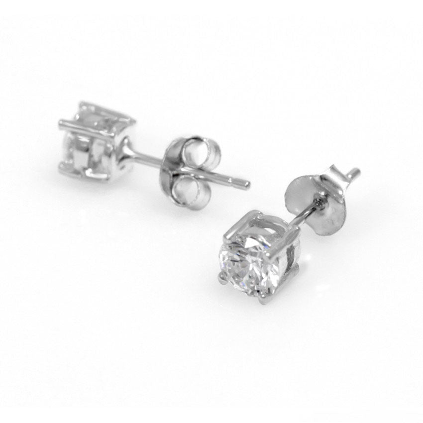 925 Sterling Silver Single Stone CZ Stud Earrings