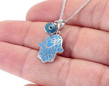 Load image into Gallery viewer, Blue Lace Hamsa w/Evil Eye Silver Necklace