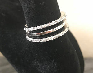 925 Sterling Silver Triple Band Ring Size 8