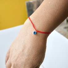 Load image into Gallery viewer, 925 Sterling Silver Bezel Dangling Evil Eye with Red Silk Adjustable Bracelet