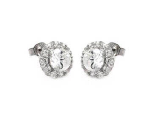 925 Sterling Silver Halo Stud Earrings