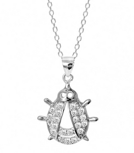 925 Sterling Silver Micro Pave  Ladybug Necklace