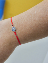 Load image into Gallery viewer, 925 Sterling Silver Round Blue Evil Eye with Red Silk Adjustable Cord  Bracelet