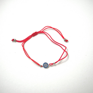 925 Sterling Silver Round Blue Evil Eye with Red Silk Adjustable Cord  Bracelet