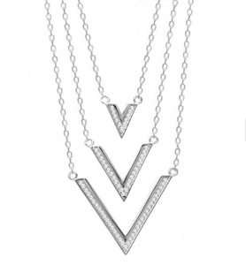 925 Sterling Silver 3 Layered V Necklace