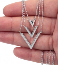 Load image into Gallery viewer, 925 Sterling Silver 3 Layered V Necklace